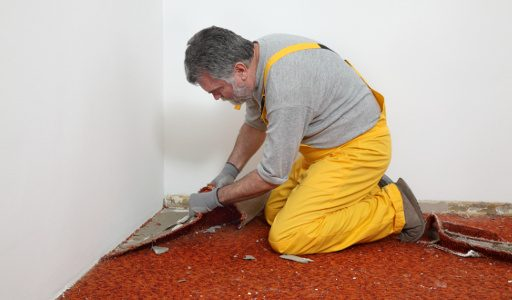 Adult worker removing old carpet in room